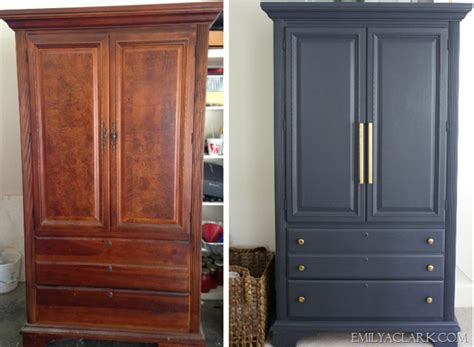 armoire makeover painting  navy emily  clark