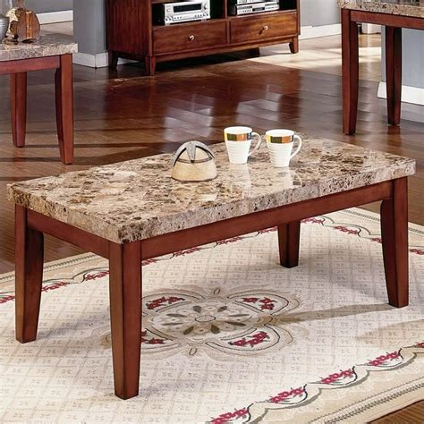 stone top coffee table steve silver company montibello brown rectangular w marble