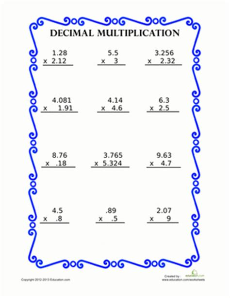 To link to this page, copy the following code to your site Decimal Multiplication   Worksheet   Education.com