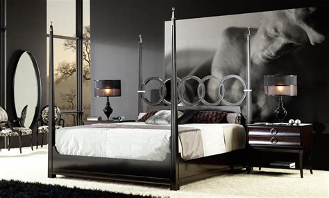 metal bed frame decorate with a modern four poster bed editeestrela design