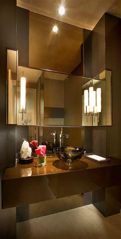Modern Brown Bathroom Ideas by Powder Room Contemporary Brown Tuba Tanik