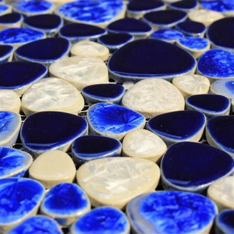 Mediterranean Blue Ceramic Porcelain Mosaic Backsplash