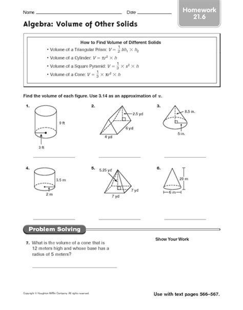 algebra volume of other solids homework worksheet for 6th 7th grade lesson planet