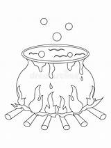 Cauldron Coloring Halloween Witch Clipart Illustration sketch template