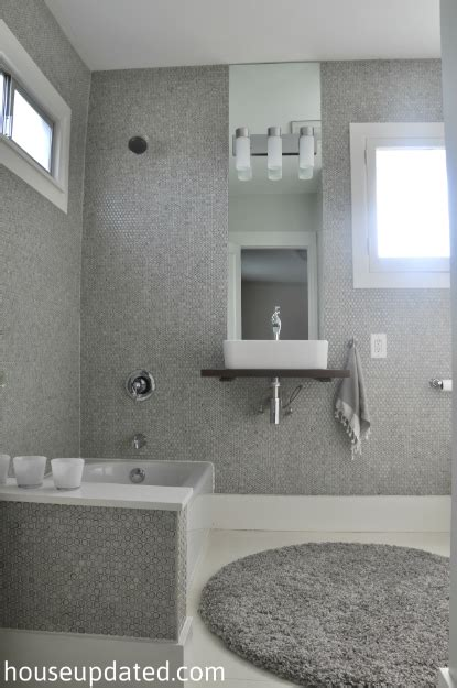 Grey Wood Tile Bathroom by Guest Bathroom Before And After House Updated