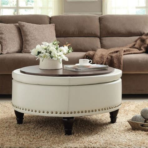 This ottoman coffee table is a large square resting on 4 tapered legs which just as the rest of the frame are made of sturdy wood. 15 Dark Brown Leather Ottoman Coffee Table Inspiration