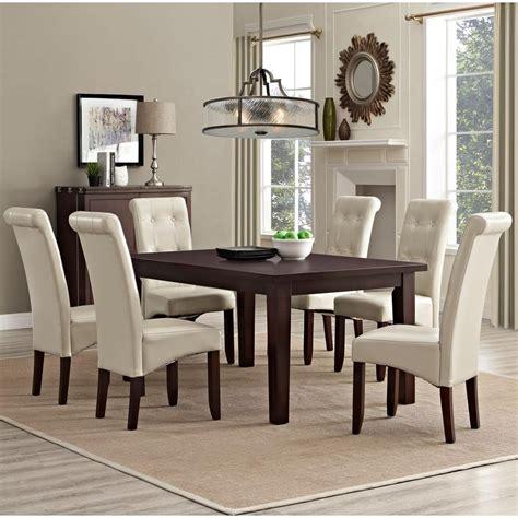 simpli home cosmopolitan  piece satin cream dining set