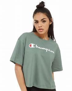 T Shirt Champion Homme : champion t shirt boxy logo femme c l o t h e s shirts ~ Carolinahurricanesstore.com Idées de Décoration