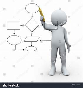3d Illustration Of Man Drawing Strategy Flow Chart Diagram