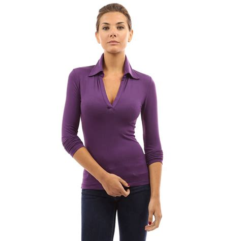 womens blouses womens collar blouses v neck high stretch sleeve