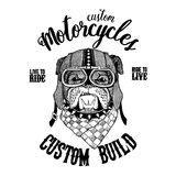 Biker Bulldog Shirt Design Monochrome Version