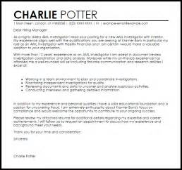 Background Investigator Resume Cover Letter aml investigator cover letter sle livecareer