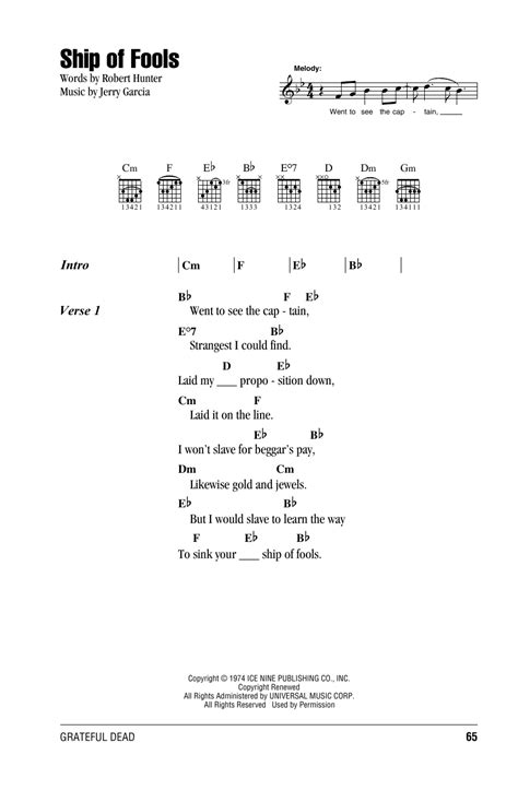 Ship Of Fools Lyrics by Ship Of Fools By Grateful Dead Guitar Chords Lyrics