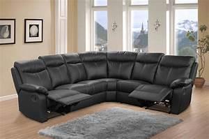 Canape Cuir Noir : canap cuir d 39 angle relax victory noir ~ Teatrodelosmanantiales.com Idées de Décoration