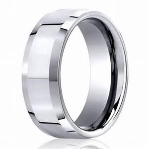 Designer Men39s Polished Beveled Edge 950 Platinum Wedding