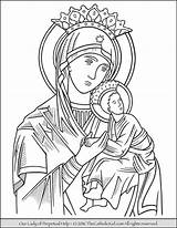 Coloring Mary Lady Perpetual Virgin Catholic Pages Help Guadalupe Drawing Mother Drawings Rosary Holy Coloriage Christian Saint Sheets Jesus Adult sketch template