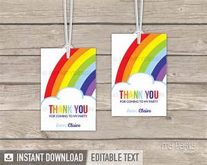 Rainbow Party PRINTABLE Thank you Tags - My Party Design