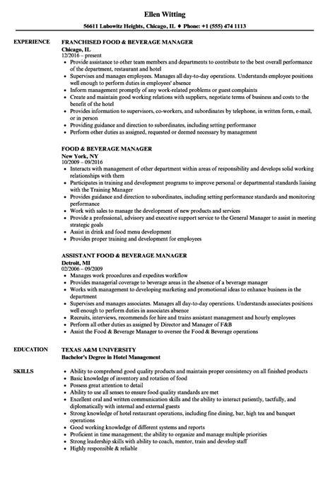 sle resume for food and beverage supervisor assistant food and beverage manager resume sle foodfash co