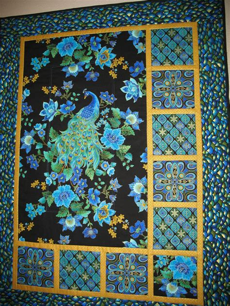 peacock quilt pattern peacock quilted wall in timeless treasure plume fabric