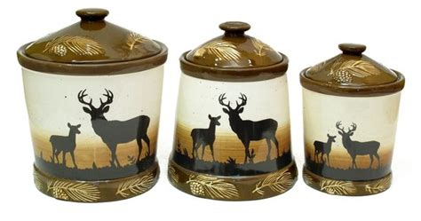 deere kitchen canisters silhouette deer 3pc ceramic canister set antler kitchen