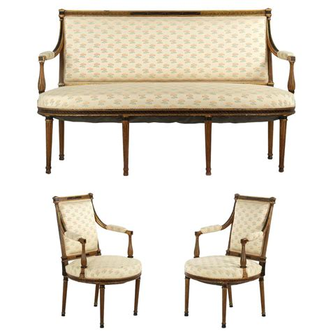Settees And Armchairs by Neoclassical Salon Suite With Settee And Pair Of