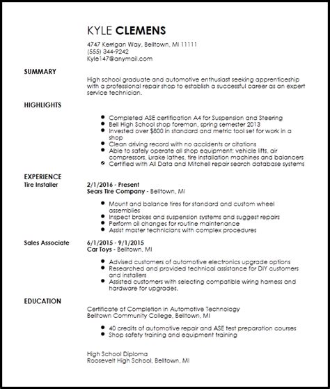 Mechanic Resume Template by Free Entry Level Mechanic Resume Template Resume Now