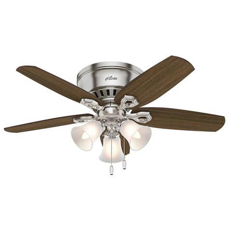 hunter oakhurst ceiling fan hunter builder low profile 42 in indoor brushed nickel