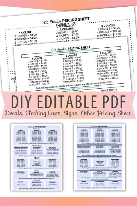 editable  pricing sheet letter size form blank custom