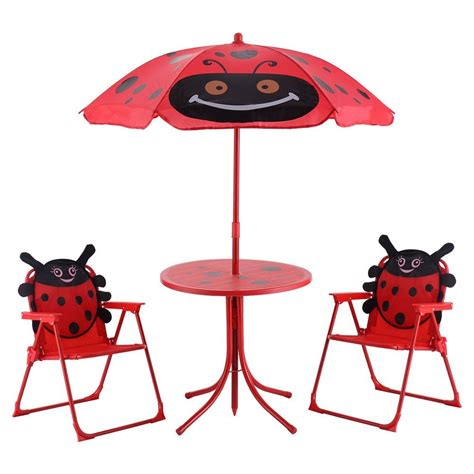 patio set table and 2 folding chairs w umbrella