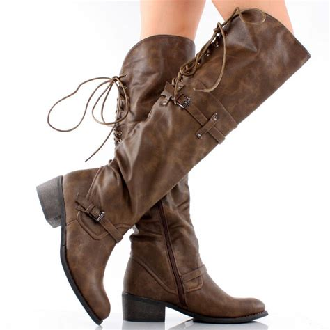 lace  tall brown boots brown distressed lace