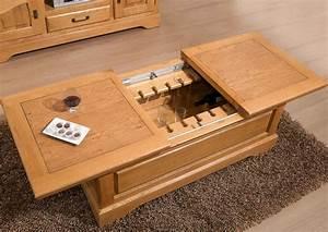 Table Basse Coffre Bar : acheter votre table basse fonction bar chene massif chez simeuble ~ Teatrodelosmanantiales.com Idées de Décoration