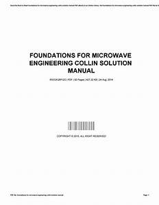 Foundations For Microwave Engineering Collin Solution