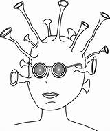 Alien Coloring Pages Glasses Printable Clip Clipart Clker Cool sketch template