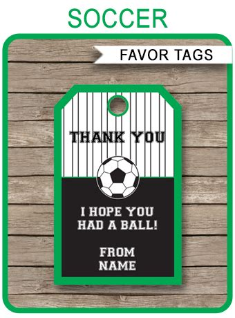 soccer party favor tags   tags birthday party