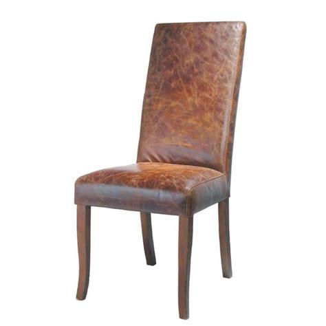 chaise en cuir et bois marron vintage maisons du monde