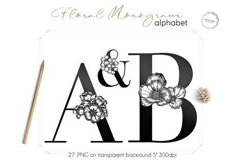 floral monogram letters clipart  monograms design bundles