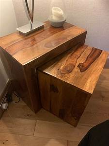 Solid, Oak, Wood, Side, Table, Block, And, Two, Part, Solid, Wood
