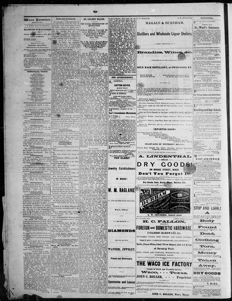 waco tex examiner 1878 vol ed saturday september daily previous