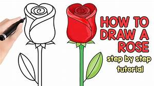 How to Draw a Rose - step by step drawing tutorial - YouTube