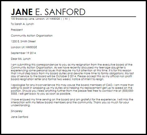 board resignation letter resignation letter sle resignation letter from board