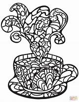 Coloring Coffee Zentangle Cup Printable Adults Crafts Drawing Puzzle Categories sketch template