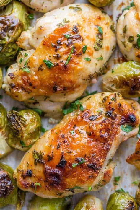 sprouts chicken brussels garlic dijon recipe baked thighs natashaskitchen recipes lemon dinner brussel pan sheet legs sprout easy winner healthy