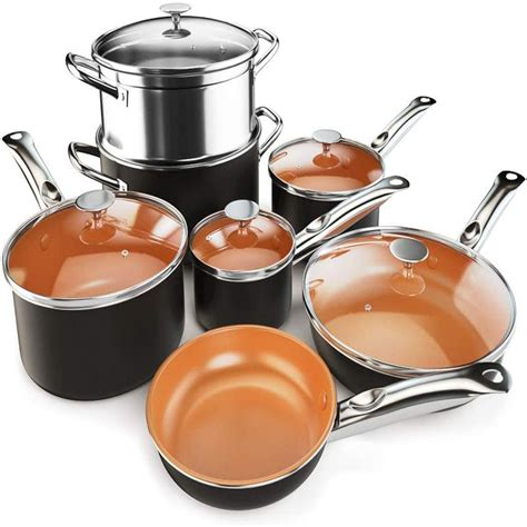 piece copper  stick cookware set pots  pans set fry pan casserole pot ebay