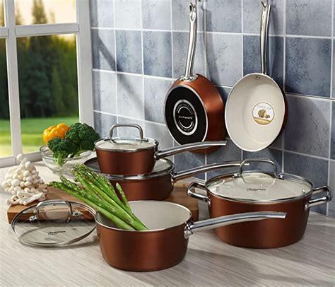 amazoncom pots  pans set cooksmark ceramic cookware set copper finish nonstick