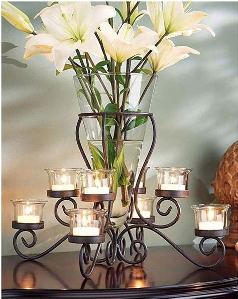 elegant wrought iron tabletop vase tealight candle holder