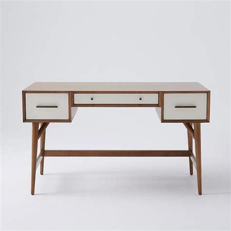 west elm office desk mid century desk acorn white west elm 桌