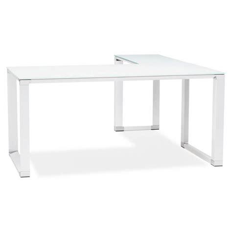 bureau master bureau d 39 angle design master en verre trempé blanc