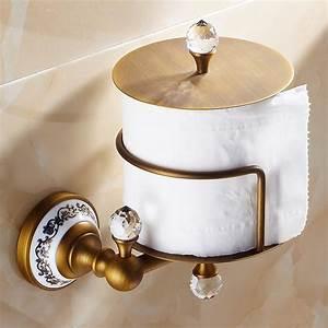 Crystal, Toilet, Roll, Holder, European, Vintage, Bathroom, Accessories, Antique, Brass, Toilet, Paper, Holder
