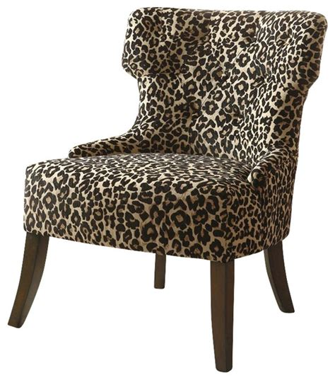 coaster accent chair in leopard print transitional
