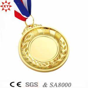 China Custom Blank Gold Metal Medal with Nylon Ribbon ...